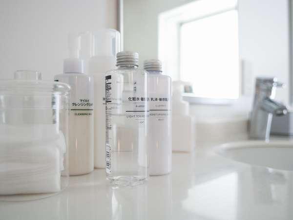 【無印良品の基礎化粧品】女子大浴場には無印良品の基礎化粧品をご用意しております♪