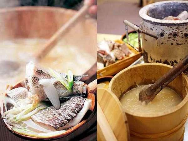 熱々の石を放り込んで調理する男鹿名物石焼き料理