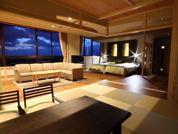 当館で一番広いお部屋[和洋室76㎡]大きな窓からの景色も最高で、男鹿の雄大な景観が望めます。