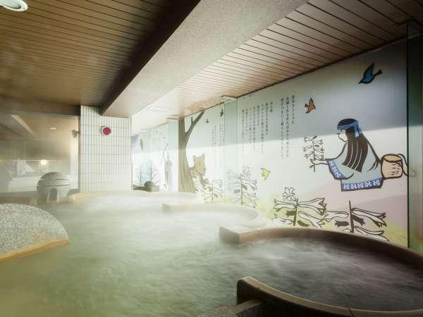 【2F男性大浴場「ピンネシリ」】話題のシルキーバスで、癒しの温浴をお楽しみください。