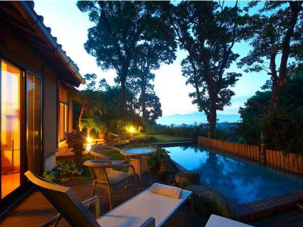 ◆離れ3/温泉水プール付和洋室からの朝の風景