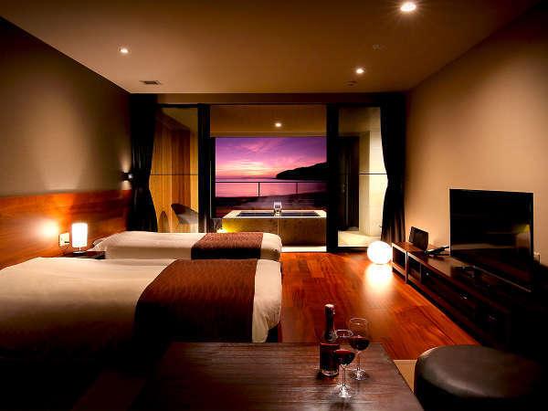 【露天風呂付客室】二名利用の眺望が素敵なオーシャンビュー露天風呂付洋室タイプ