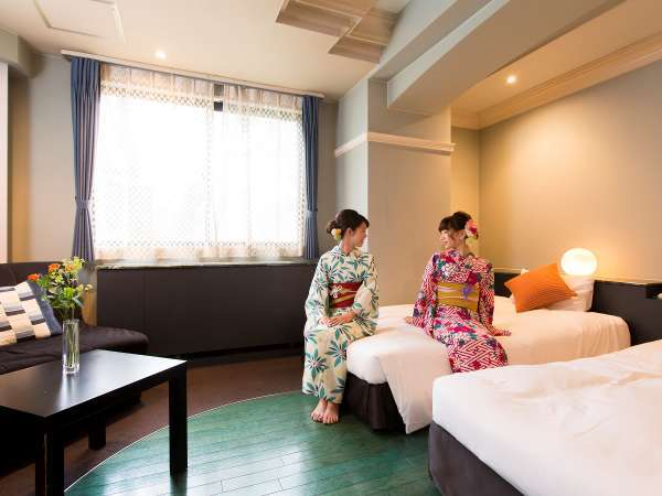 デラックスツイン【バストイレ付★WIFI無料】京都観光の疲れを癒す、ゆったり心地よいお部屋。