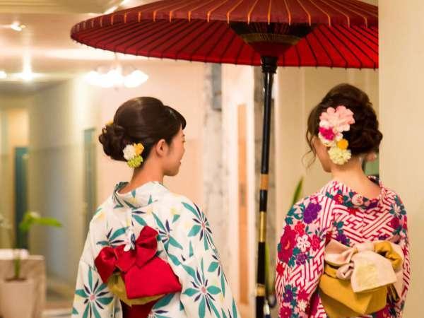 【ホテルささりんどう】ロビーにて♪着物で京都観光がオススメです!
