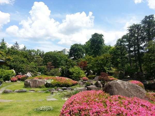 四季折々の庭園足湯もございます。足湯に入りながらごゆっくり庭園をお楽しみくださいませ
