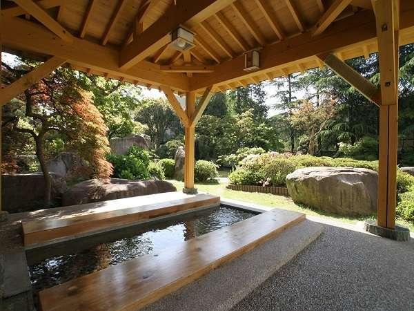庭園の足湯