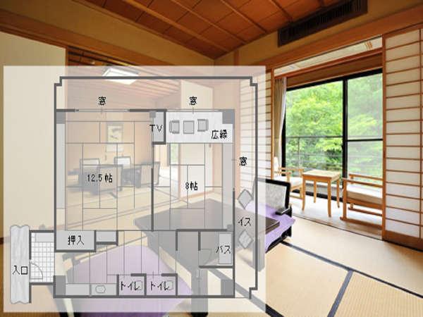 景色抜群の二間続き角部屋一例