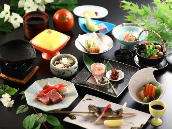 清流で育った岩魚の塩焼きや信州和牛や温泉粥コロッケなどスタンダード会席料理一例