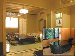●特別室●平成15年に新設された特別室は6+10畳の贅沢な空間。陶器の半露天風呂も豪華さ◎