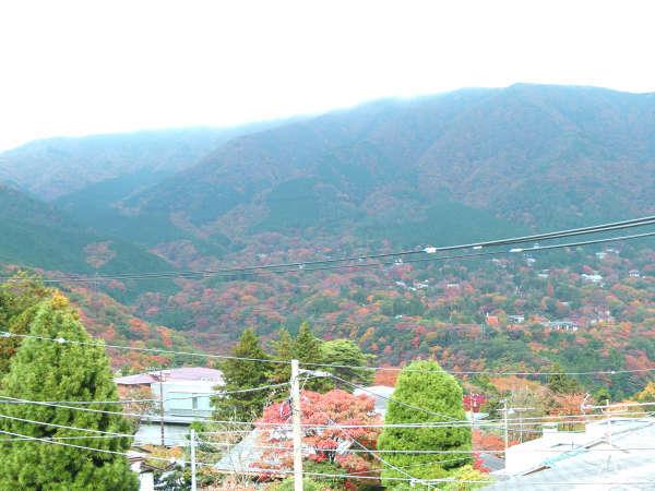 *秋になると当館3Fのお部屋からは紅葉に染まった山を臨めます。
