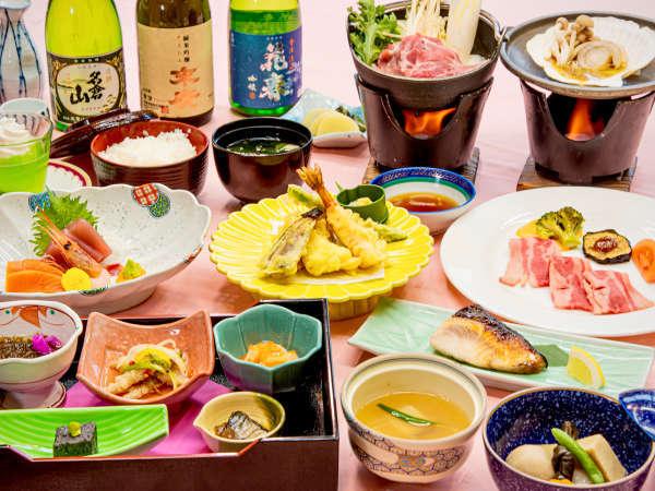 和食会食膳一例。当館の自慢はそのボリューム!お腹いっぱいのお料理を楽しむなら当館で♪