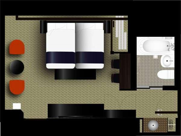 広さ24㎡/ベッド2台(ベッド幅122cm・長さ196cm・高さ51cm)
