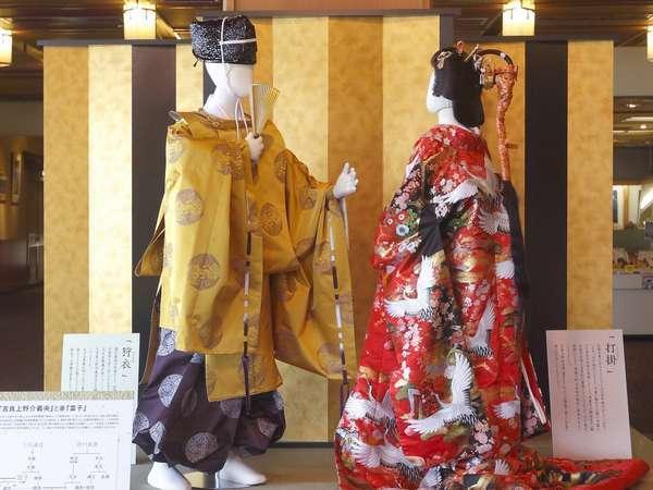 展示「吉良上野介と富子夫人」地元吉良の名君吉良氏と吉良町の歴史を展示しております/ロビー