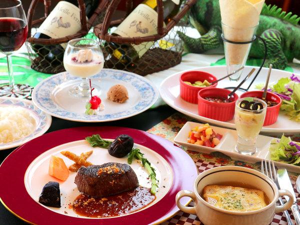 【夕食】南米風ディナーコース♪ジビエ肉のステーキはやわらかくオーナー特製のソースが絶品!