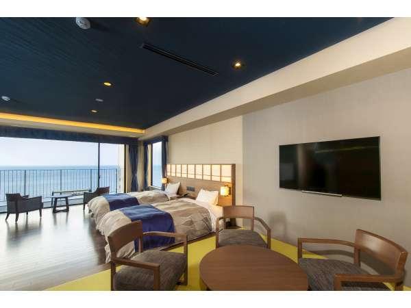 ロイヤルルーム お部屋はゆったり広々63㎡。バルコニーには別府湾を一望できる専用露天風呂があります。
