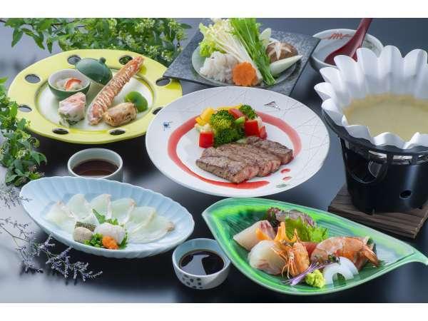 夕食『雅』コース料理プラン。 このほかに約40種のビュッフェ♪ *イメージです