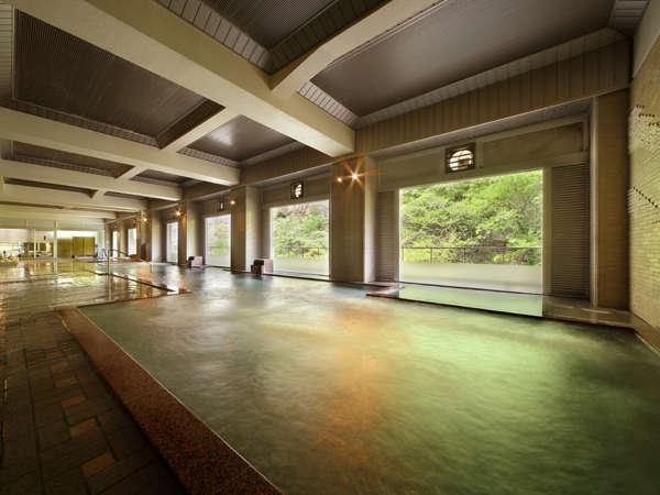 大浴場弁天の湯 広々としたお風呂で美しい風景を眺めながら癒やしのひとときをお過ごしください…