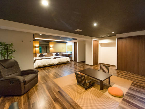 【客室一例】和モダンで統一された和洋室の全客室には天然温泉の露天風呂をご用意致しました