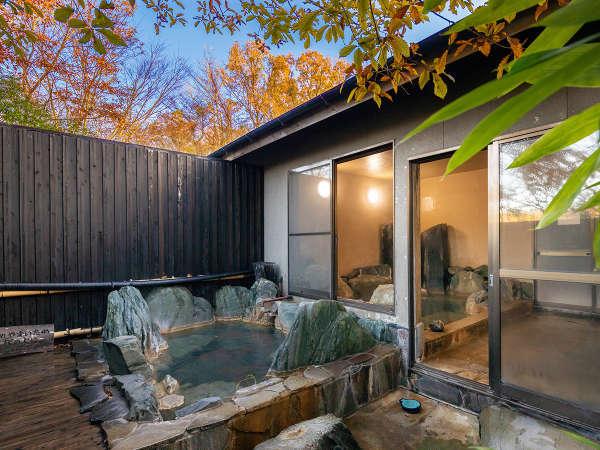 【大浴場】源泉かけ流し100%でご満喫いただける小田温泉。野の趣きあふれる露天風呂をお愉しみください