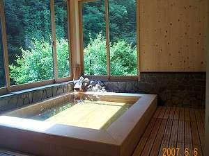 日高川を眺める内湯は、ほとんど露天風呂気分。(男湯)