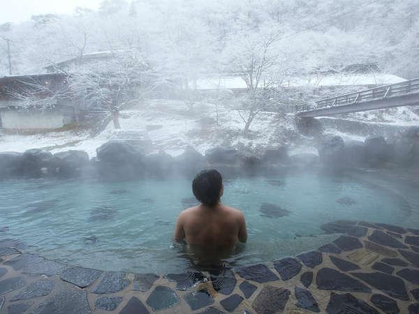 混浴露天風呂「大沢の湯」 雪見露天気持ちいいですね~♪
