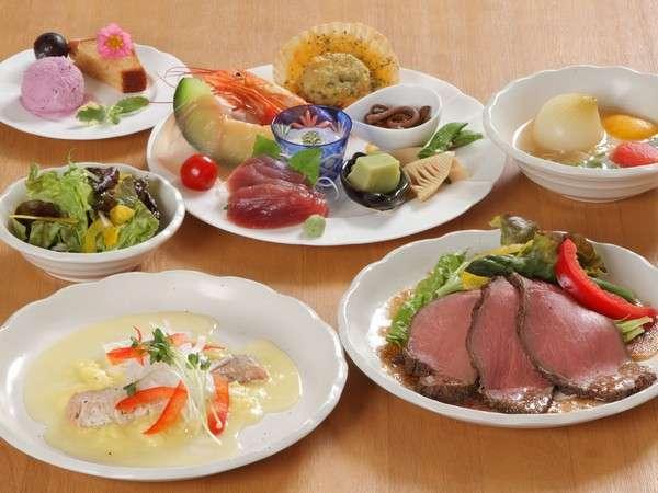 夕食:和洋折衷料理(一例)