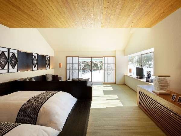 【津軽こぎんの間 和室 リビングスペース付き】広々とした空間をお二人で贅沢にお使いいただけます