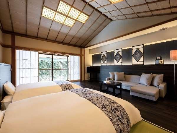 【津軽こぎんの間 和室(定員5名)】広々としたお部屋に5名様までご滞在いただけます。