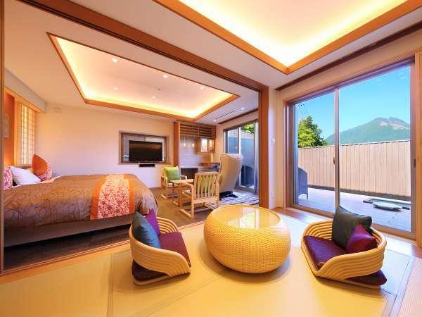 由布岳眺望の部屋。和洋室でマッサージチェアも完備している和洋室