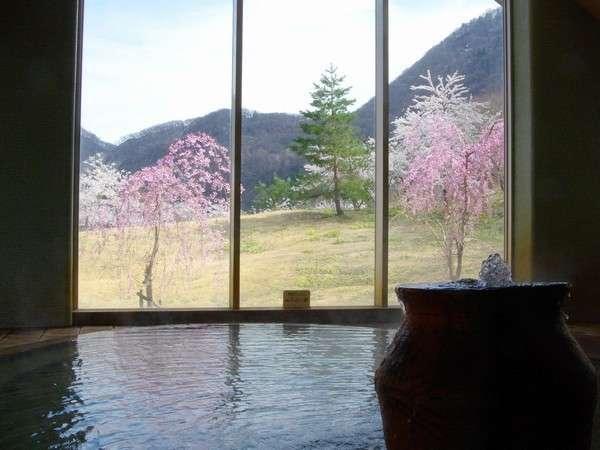 春の山を眺めながらの温泉。コレがのどかでまたいいんです…