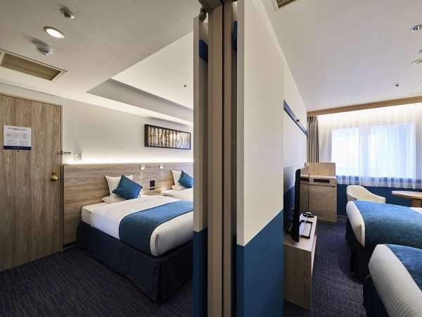 コネクティングコンフォートツイン-ベッド幅110センチ、子ベッドを使い最大4~6名様まで宿泊可能