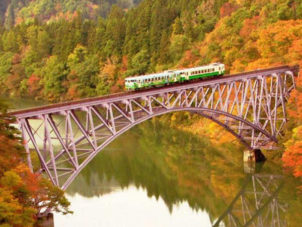 *只見川第一橋梁を眺める風景