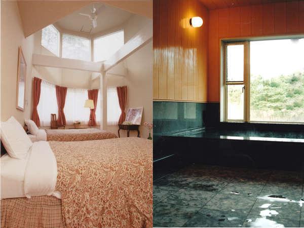 ゆったりとしたスイートルームと貸切もできる御影石の展望浴場