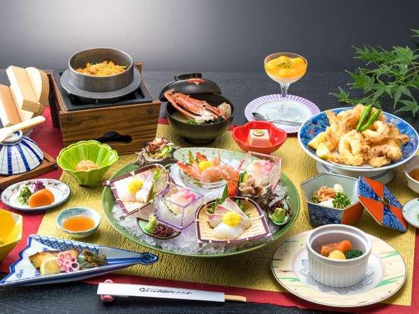 料理イメージ(お造りと天ぷらは2名盛込例)旬の素材を調理いたしますので一部変更になる場合もございます