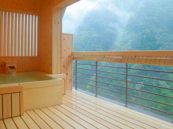 【貴賓室】朝靄の幻想的な風景。14階からのダイナミックな峡谷美が望めます。
