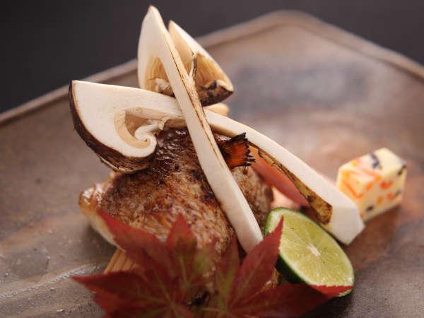 【お料理】焼物:松茸とのど黒つけ焼「雅膳」秋から冬に旨味が増します。富山県では「神魚」と呼ばれます。