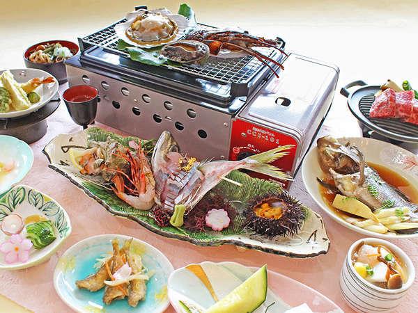 ◆7月~9月◆華やぎ会席:鮑、伊勢海老、帆立貝を豪快に浜焼き!7種のお刺身盛り合わせ。