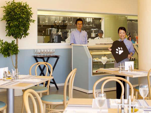 *ドッグカフェ『Cafe the Rodhos』青を基調とした店内ではシェフ自慢のイタリアンを堪能できます。