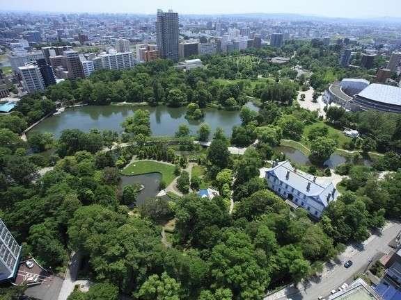 日本の都市公園100選に認定された中島公園を一望(人気のパークビュー)※イメージ