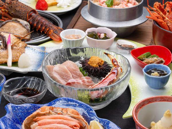 *【夕食例(潮の膳)】お造りには本マグロのトロやウニを使用(季節によって変更することがあります)
