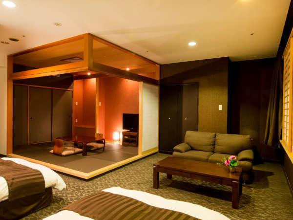 <部屋>和洋室 セミスイート (48㎡)ダークブラウンベースの落ち着いた色調。