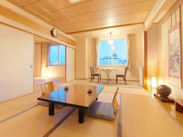 《2間続きの特別室+広縁》☆窓からは松倉川、遠くには津軽海峡を望めます♪記念日にもおススメ♪