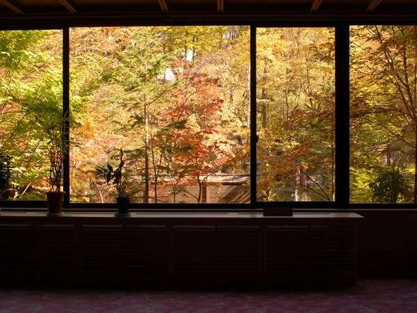 ロビーの広い窓から紅葉を望む・・・館内に居ながらにして紅葉狩りを