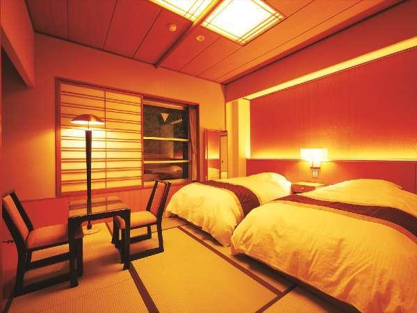 【本館和ツイン】カップル・ご夫婦におススメ♪和風のお部屋にいながらベッドにごろん!