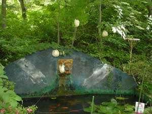 庭にある池にカエルが卵を産みに来ます。池には金魚もいるよ!自然あふれるミルキーウェイの一面。