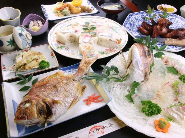 湯島の海幸会席の一例 お料理内容は毎日変わります。