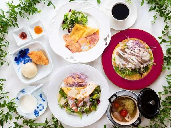 朝食/佐賀で採れた色とりどりの野菜をふんだんに使った朝食