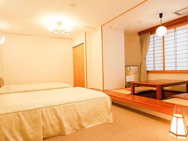 2018年 リニューアルしたツインベッド付きの和洋室です。