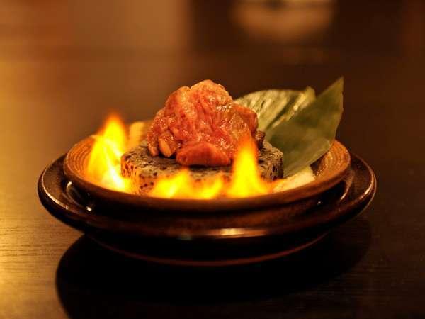【夕食】越後牛のサーロイン石焼