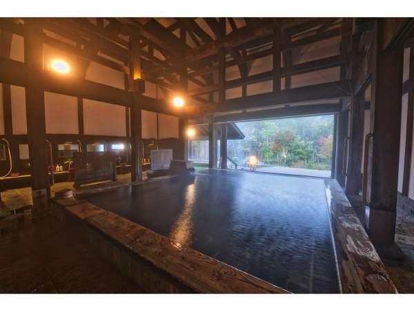 湯元源泉かけ流し温泉はみずばしょう温泉「古民家の湯」は新潟県から180年前の古民家を移築しました。